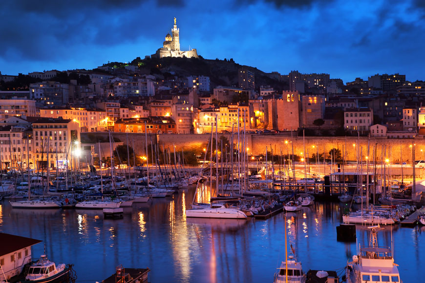 Marseille, France panorama at night, the harbour.